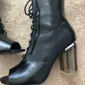 3cfb98ec1c1 Dolls Kill Shoes - Peep toe clear heel booties